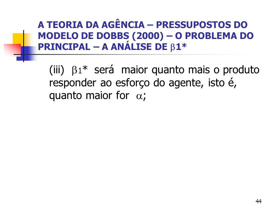 A TEORIA DA AGÊNCIA – PRESSUPOSTOS DO MODELO DE DOBBS (2000) – O PROBLEMA DO PRINCIPAL – A ANÁLISE DE 1*