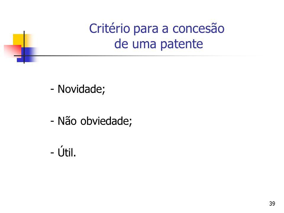 Critério para a concesão de uma patente