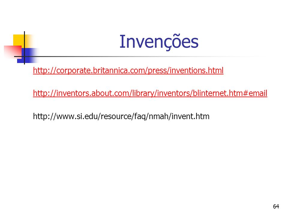 Invenções http://corporate.britannica.com/press/inventions.html