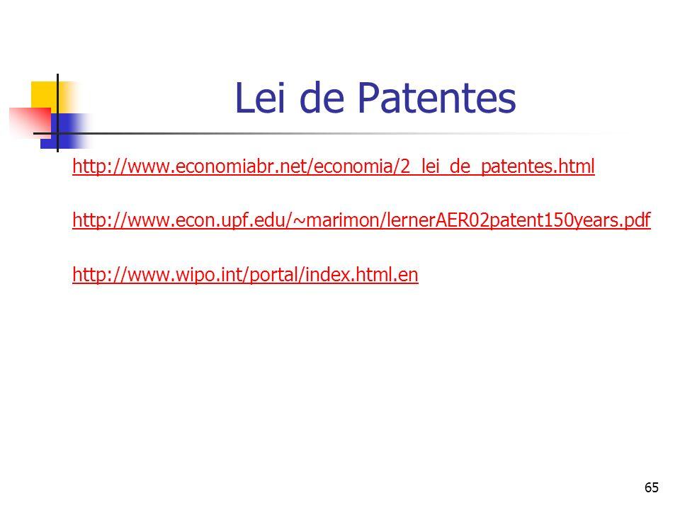 Lei de Patentes http://www.economiabr.net/economia/2_lei_de_patentes.html. http://www.econ.upf.edu/~marimon/lernerAER02patent150years.pdf.