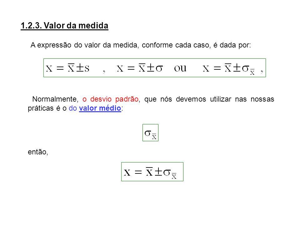 1.2.3. Valor da medida A expressão do valor da medida, conforme cada caso, é dada por: