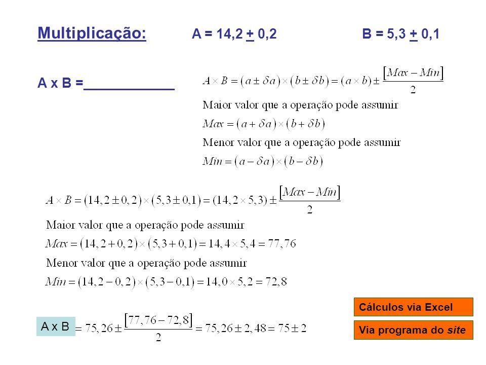 Multiplicação: A = 14,2 + 0,2 B = 5,3 + 0,1