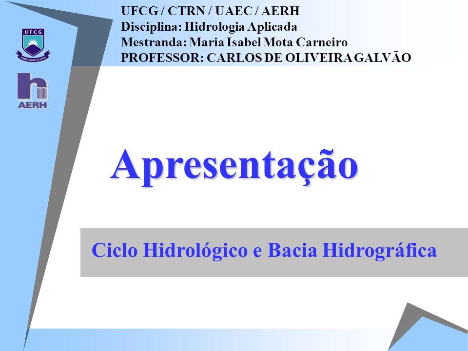 Apresentação Ciclo Hidrológico e Bacia Hidrográfica