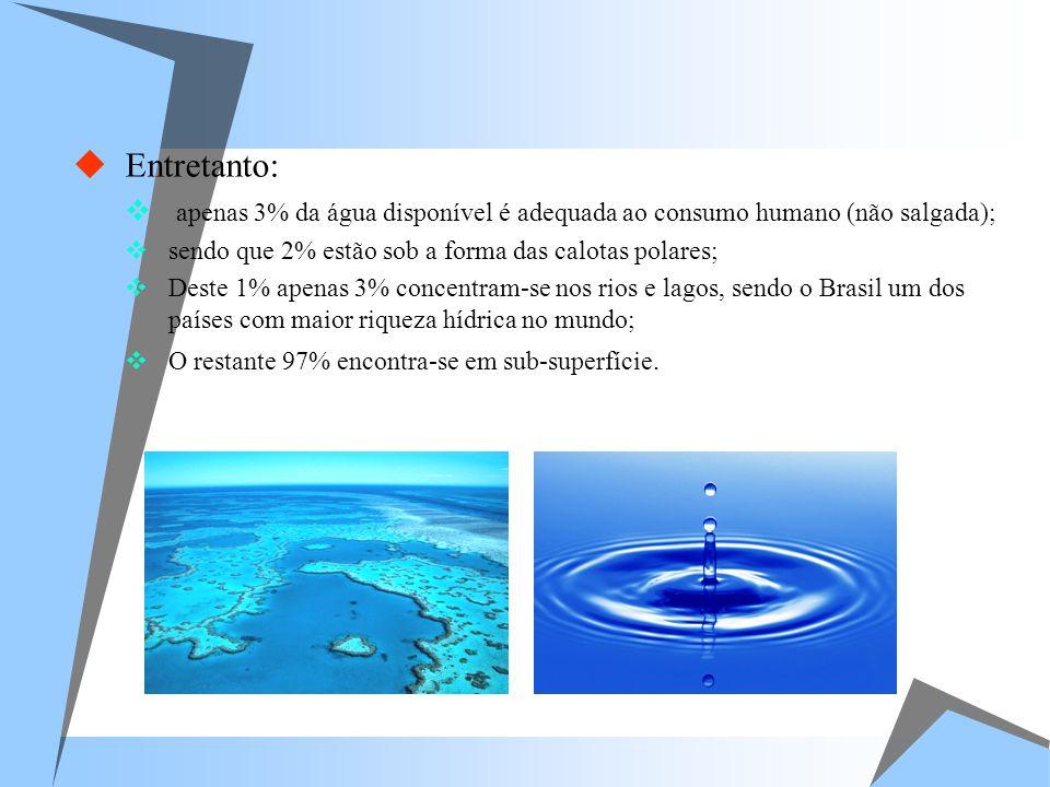 Entretanto: apenas 3% da água disponível é adequada ao consumo humano (não salgada); sendo que 2% estão sob a forma das calotas polares;