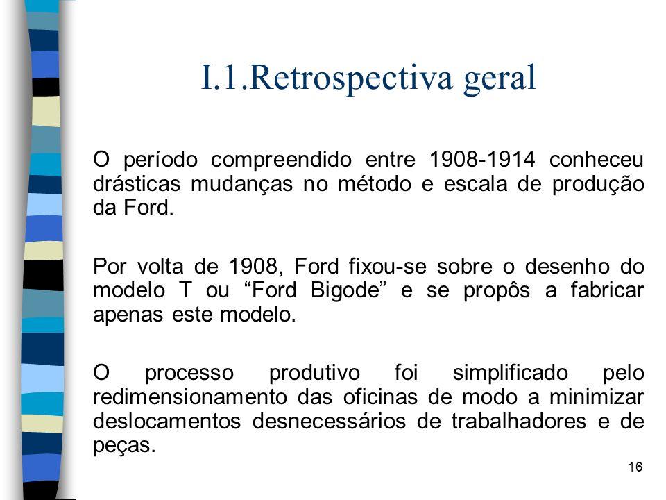I.1.Retrospectiva geral O período compreendido entre 1908-1914 conheceu drásticas mudanças no método e escala de produção da Ford.