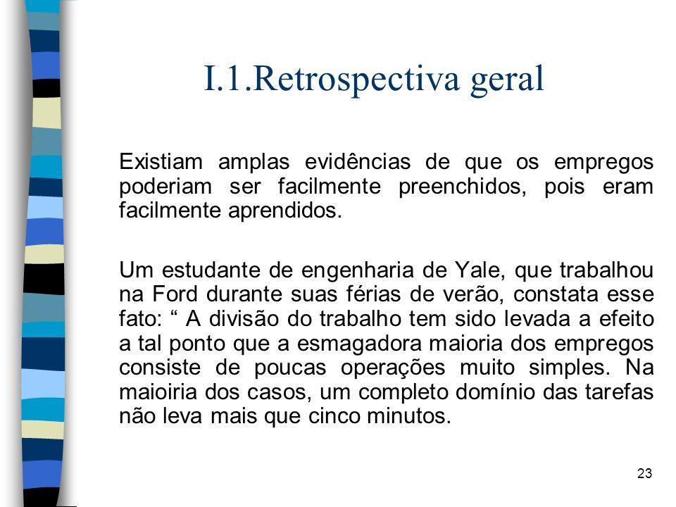 I.1.Retrospectiva geralExistiam amplas evidências de que os empregos poderiam ser facilmente preenchidos, pois eram facilmente aprendidos.