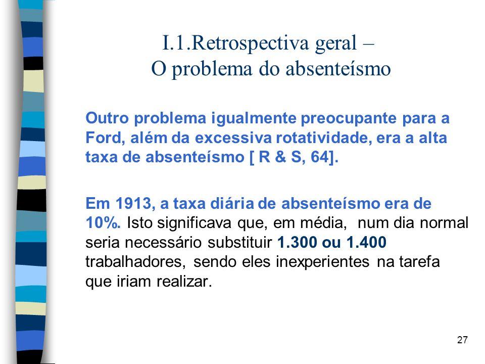I.1.Retrospectiva geral – O problema do absenteísmo