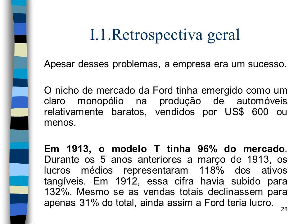 I.1.Retrospectiva geralApesar desses problemas, a empresa era um sucesso.