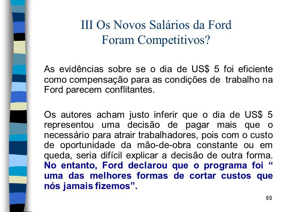 III Os Novos Salários da Ford Foram Competitivos