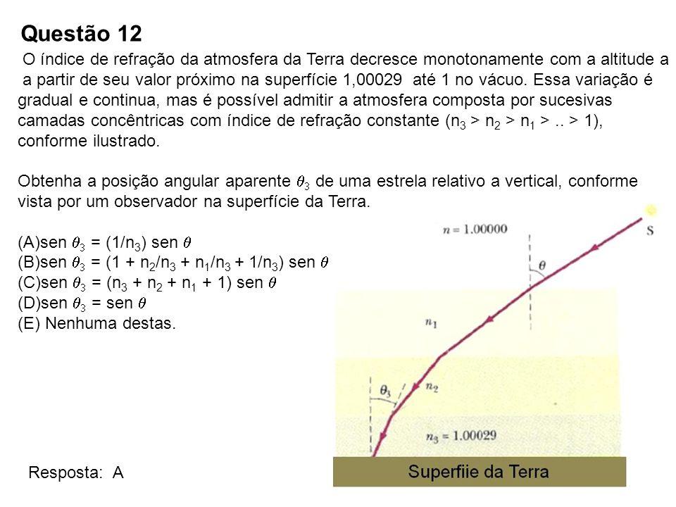 Questão 12 O índice de refração da atmosfera da Terra decresce monotonamente com a altitude a.