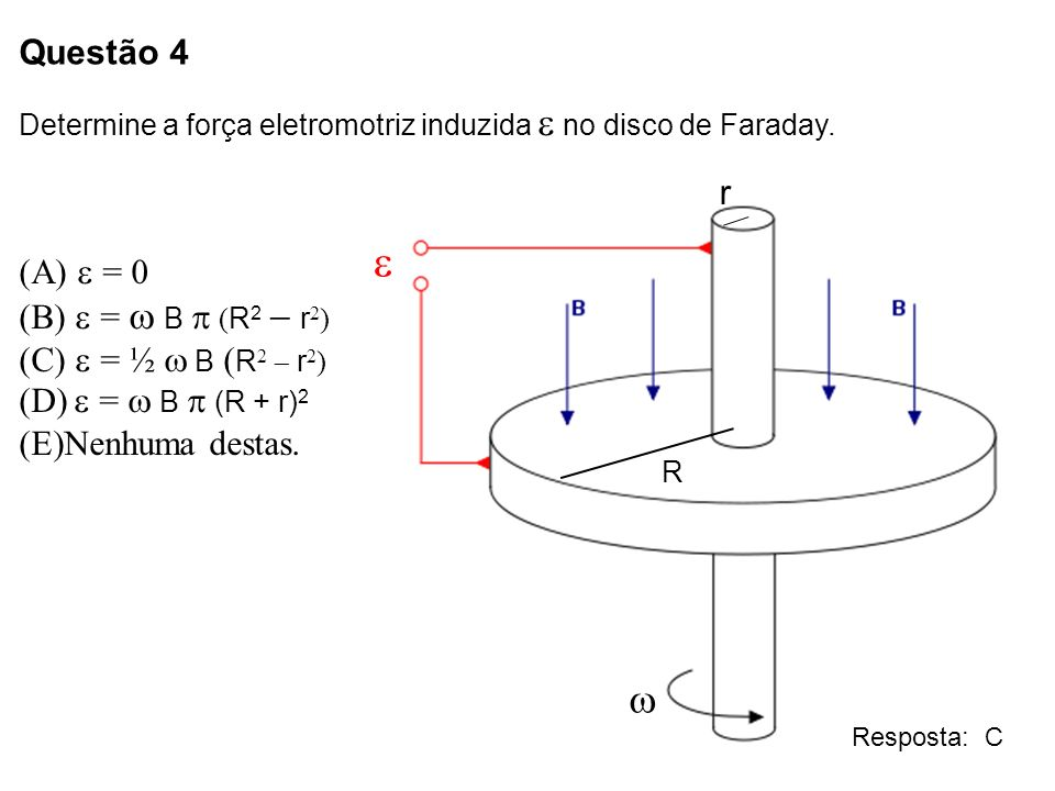 e w Questão 4 r e = 0 e = w B p (R2 - r2) e = ½ w B (R2 - r2)