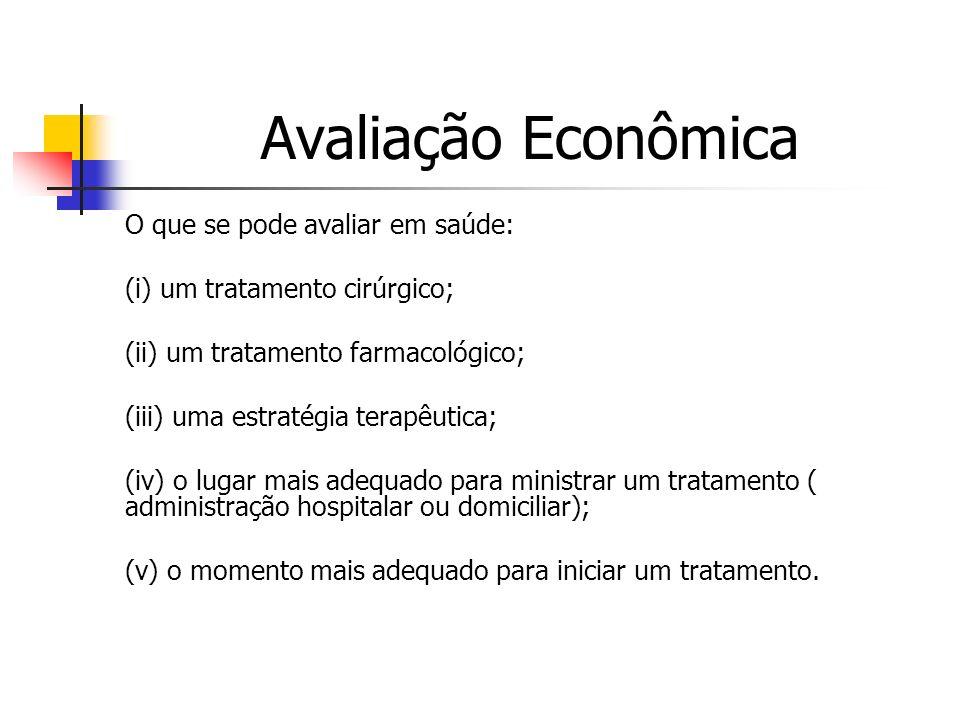 Avaliação Econômica O que se pode avaliar em saúde:
