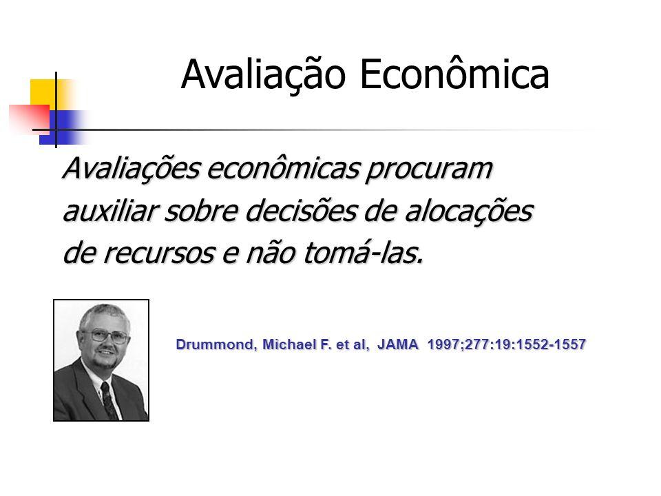 Avaliação Econômica Avaliações econômicas procuram