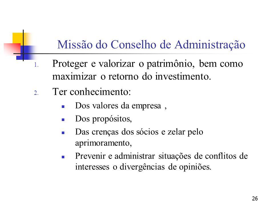 Missão do Conselho de Administração