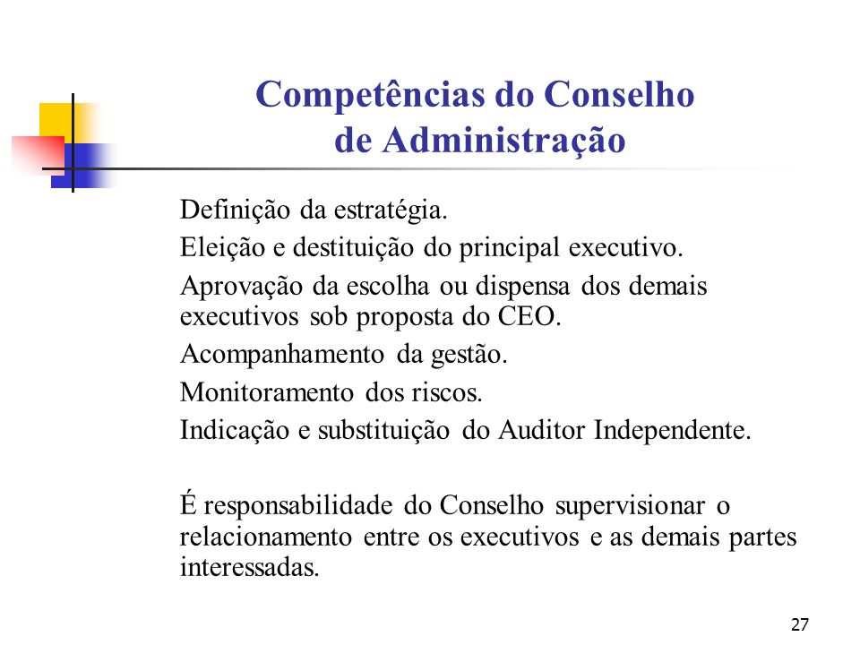 Competências do Conselho de Administração