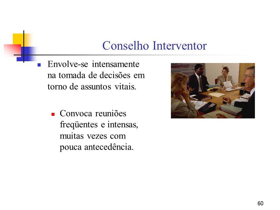 Conselho Interventor Envolve-se intensamente na tomada de decisões em torno de assuntos vitais.
