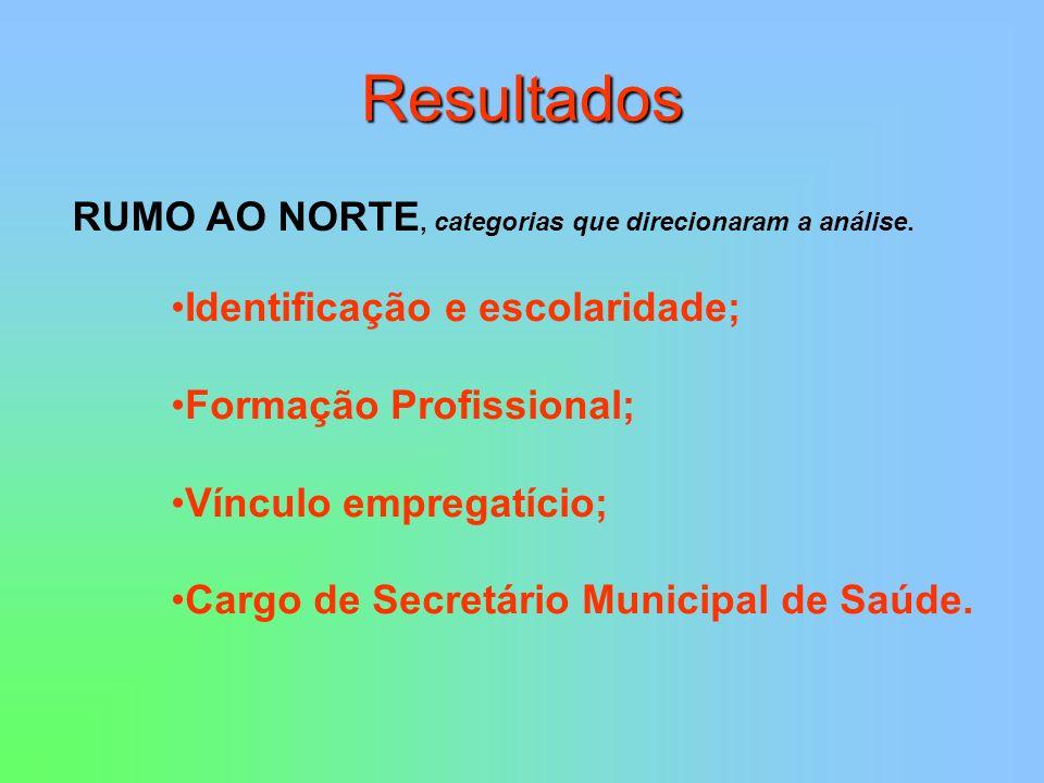 Resultados RUMO AO NORTE, categorias que direcionaram a análise.