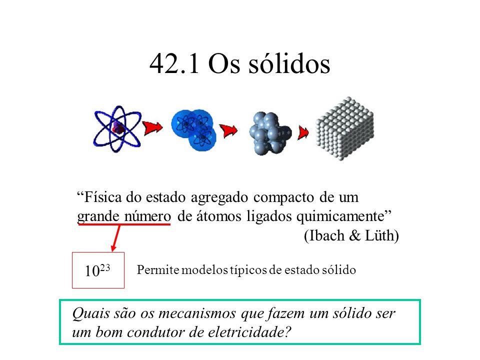 42.1 Os sólidos Física do estado agregado compacto de um grande número de átomos ligados quimicamente