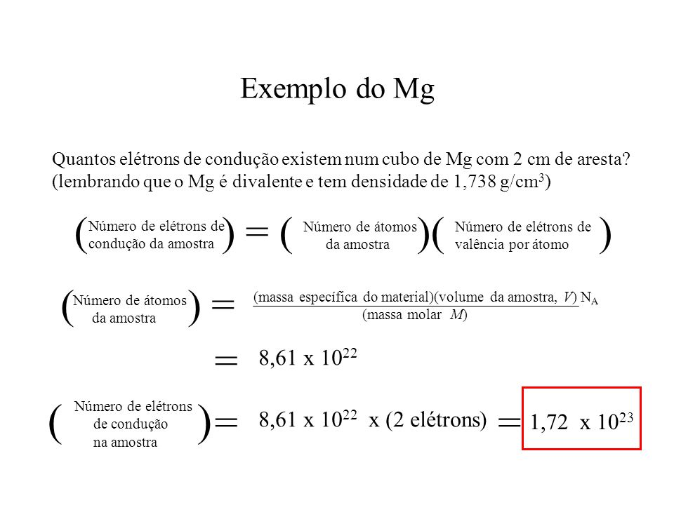 ( ) ( ) = ( )( ) ( ) = = = = Exemplo do Mg 8,61 x 1022