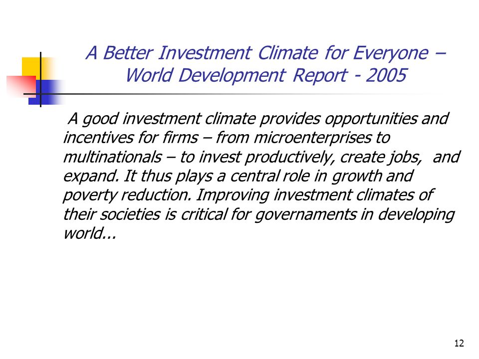 A Better Investment Climate for Everyone – World Development Report