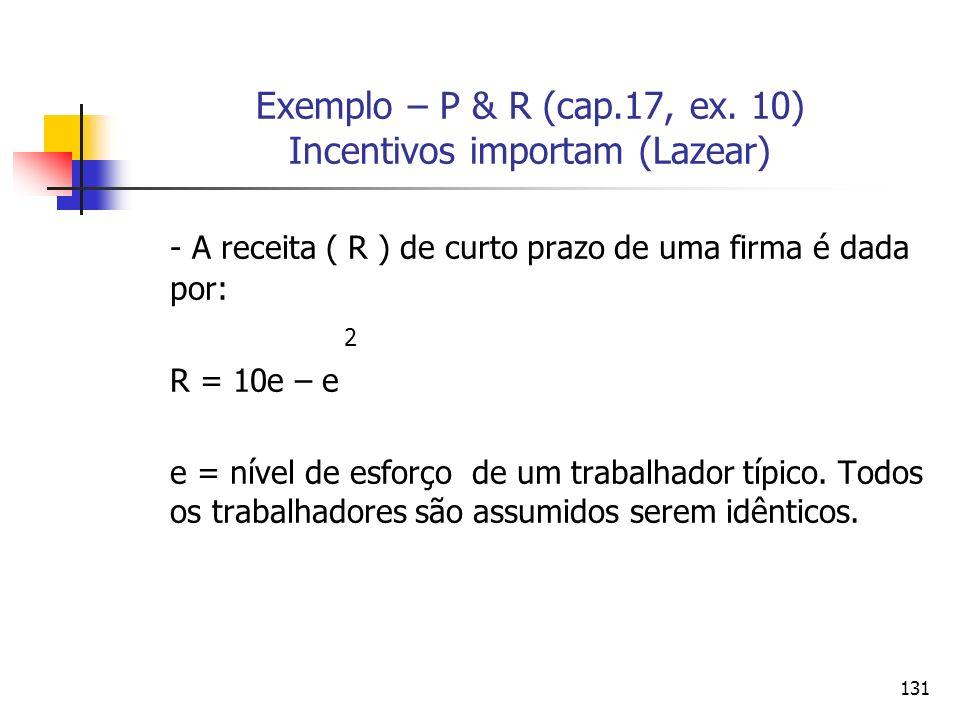 Exemplo – P & R (cap.17, ex. 10) Incentivos importam (Lazear)