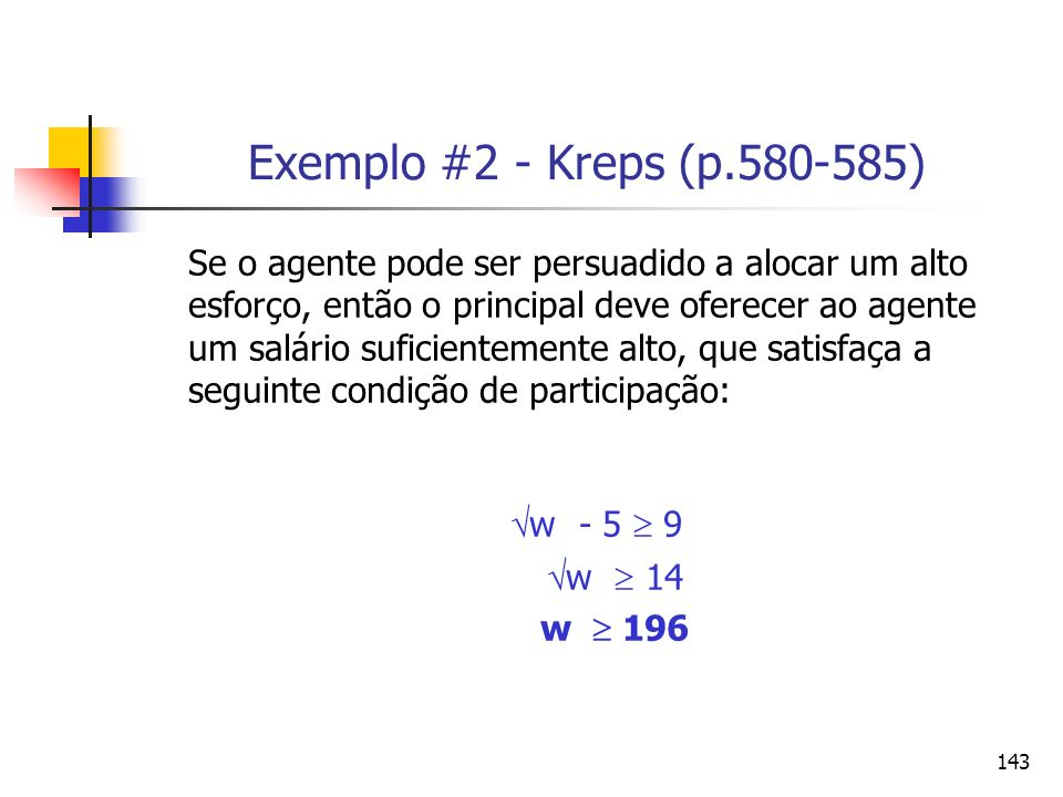 Exemplo #2 - Kreps (p.580-585) w - 5  9
