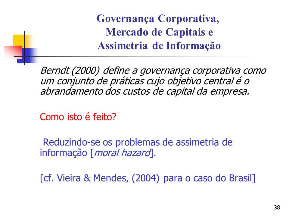 Governança Corporativa, Mercado de Capitais e Assimetria de Informação