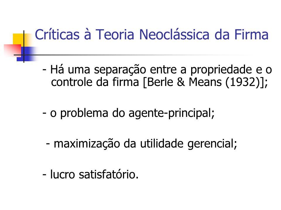 Críticas à Teoria Neoclássica da Firma