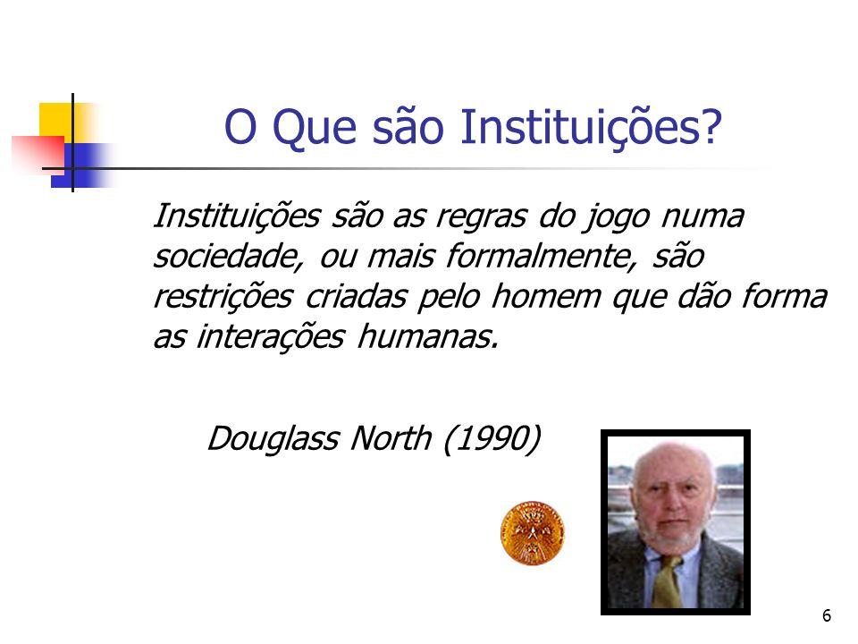 O Que são Instituições Douglass North (1990)