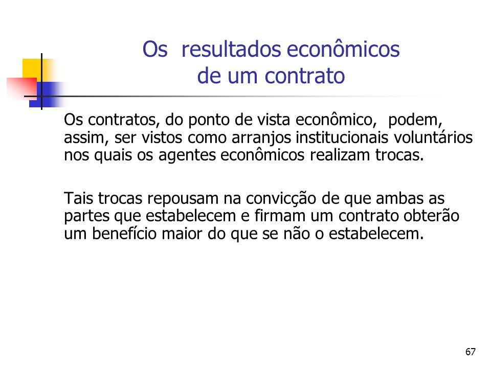 Os resultados econômicos de um contrato