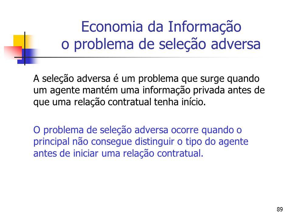 Economia da Informação o problema de seleção adversa