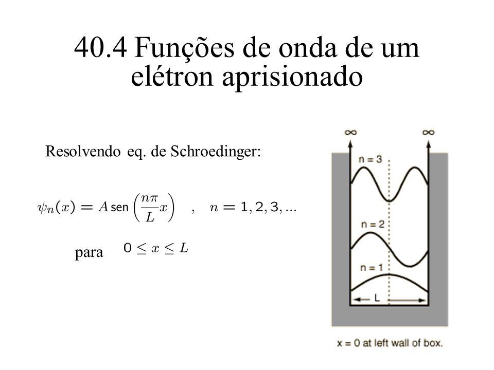 40.4 Funções de onda de um elétron aprisionado