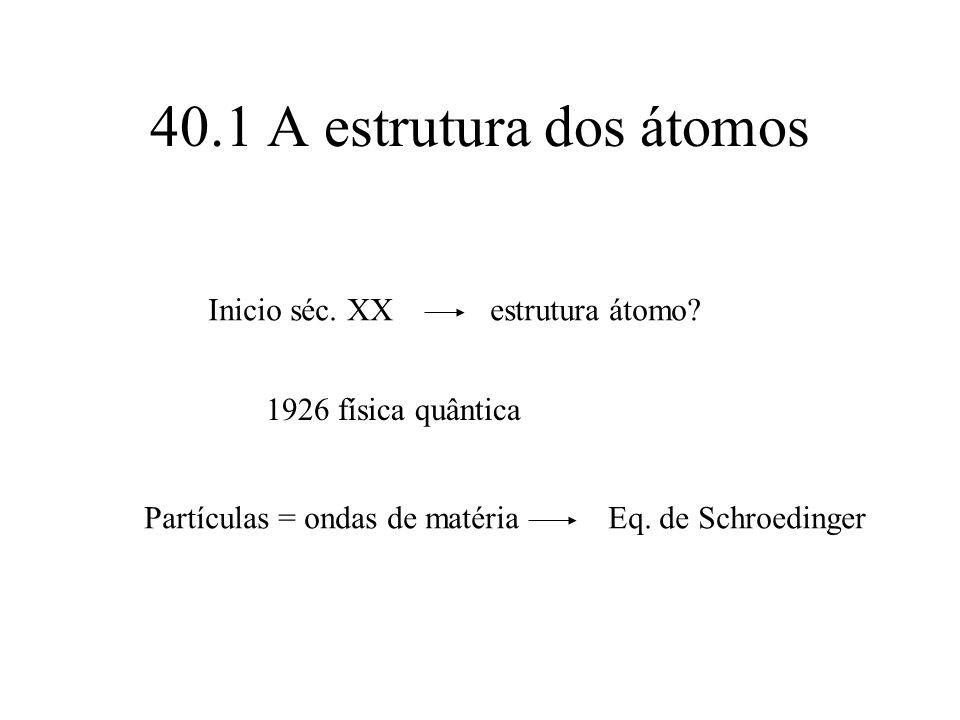 40.1 A estrutura dos átomos Inicio séc. XX estrutura átomo