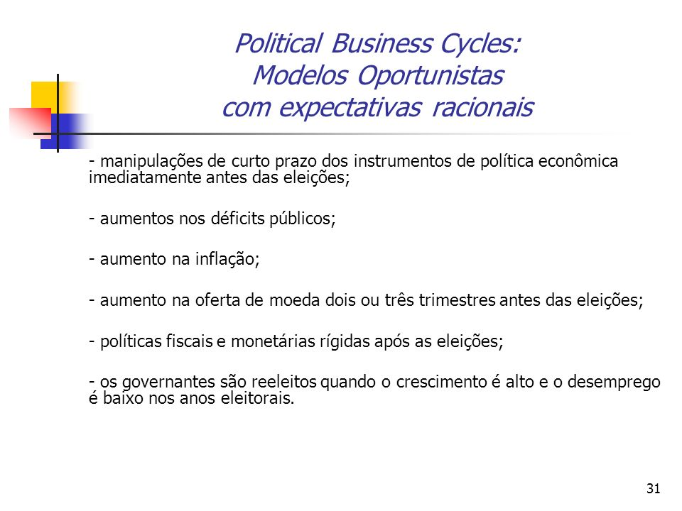 Political Business Cycles: Modelos Oportunistas com expectativas racionais