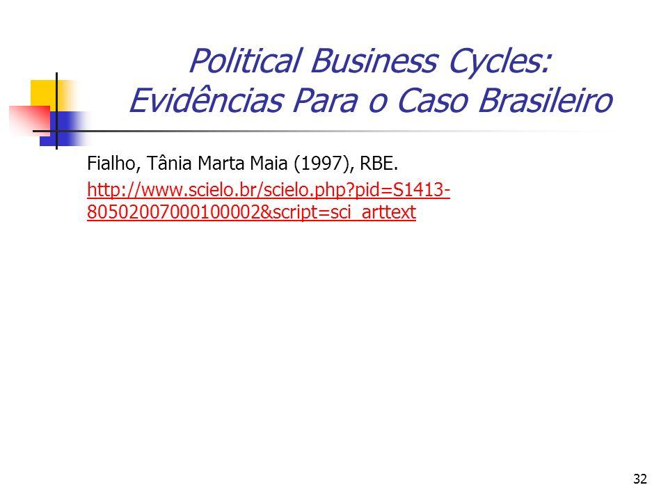 Political Business Cycles: Evidências Para o Caso Brasileiro