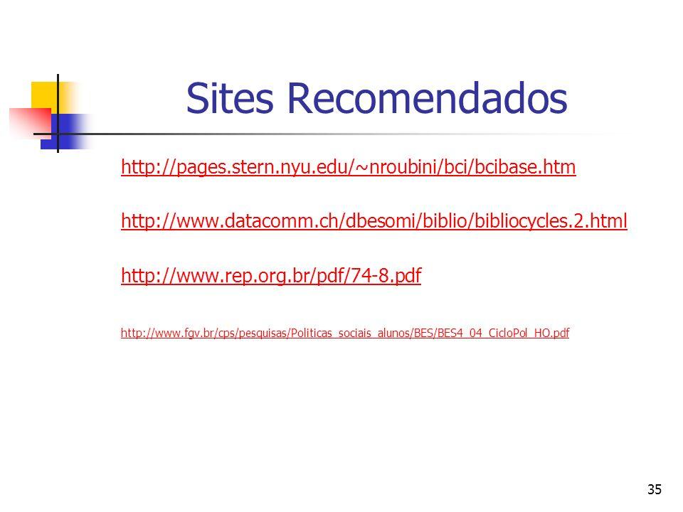 Sites Recomendadoshttp://pages.stern.nyu.edu/~nroubini/bci/bcibase.htm. http://www.datacomm.ch/dbesomi/biblio/bibliocycles.2.html.