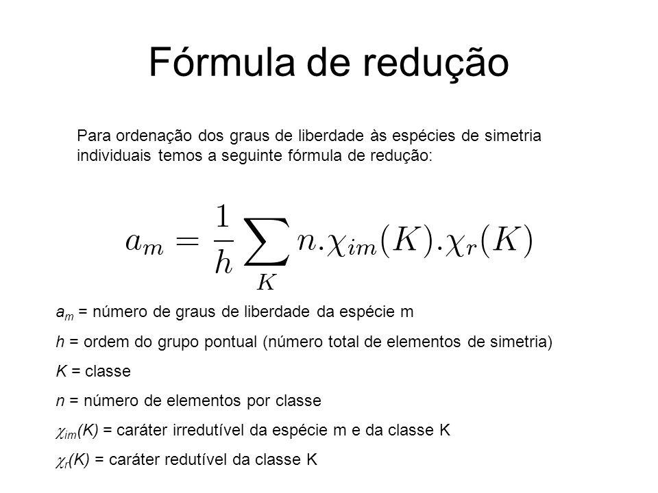 Fórmula de redução Para ordenação dos graus de liberdade às espécies de simetria individuais temos a seguinte fórmula de redução: