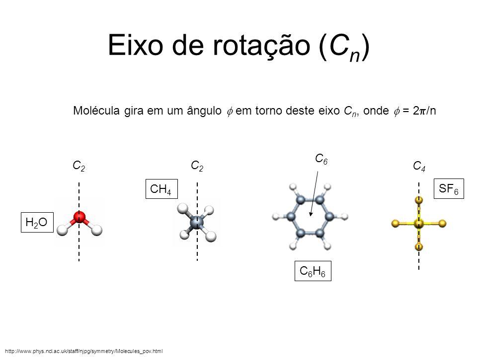 Eixo de rotação (Cn)Molécula gira em um ângulo f em torno deste eixo Cn, onde f = 2p/n. C6. C2. C2.