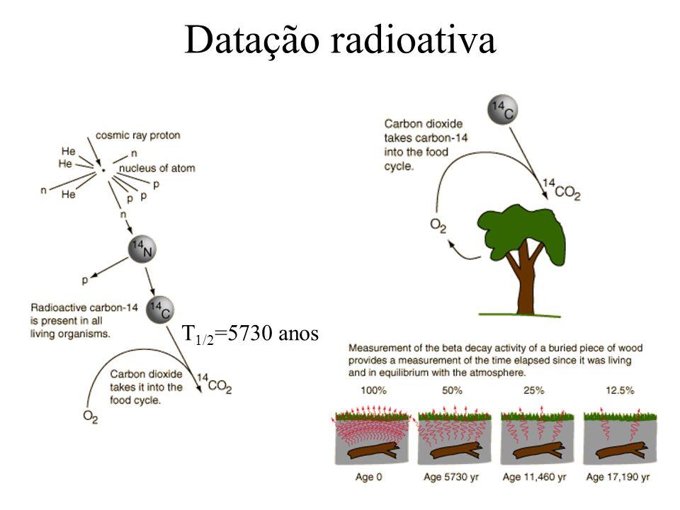 Datação radioativa T1/2=5730 anos