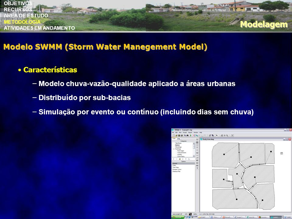 Modelagem Modelo SWMM (Storm Water Manegement Model) Características