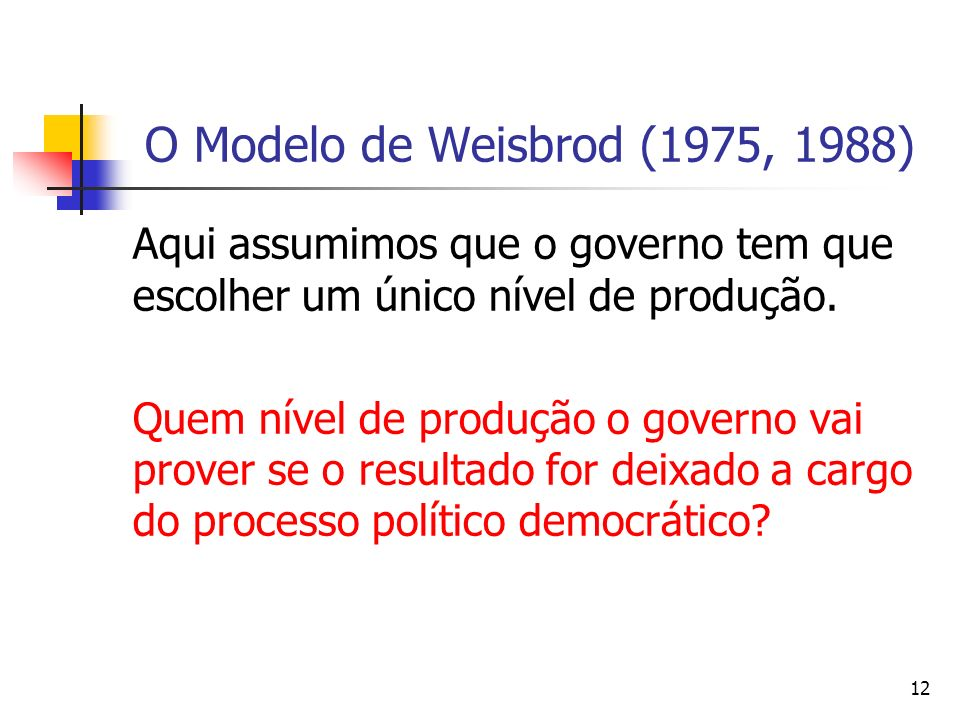 O Modelo de Weisbrod (1975, 1988) Aqui assumimos que o governo tem que escolher um único nível de produção.