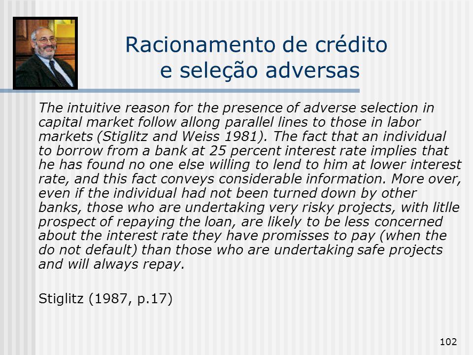 Racionamento de crédito e seleção adversas