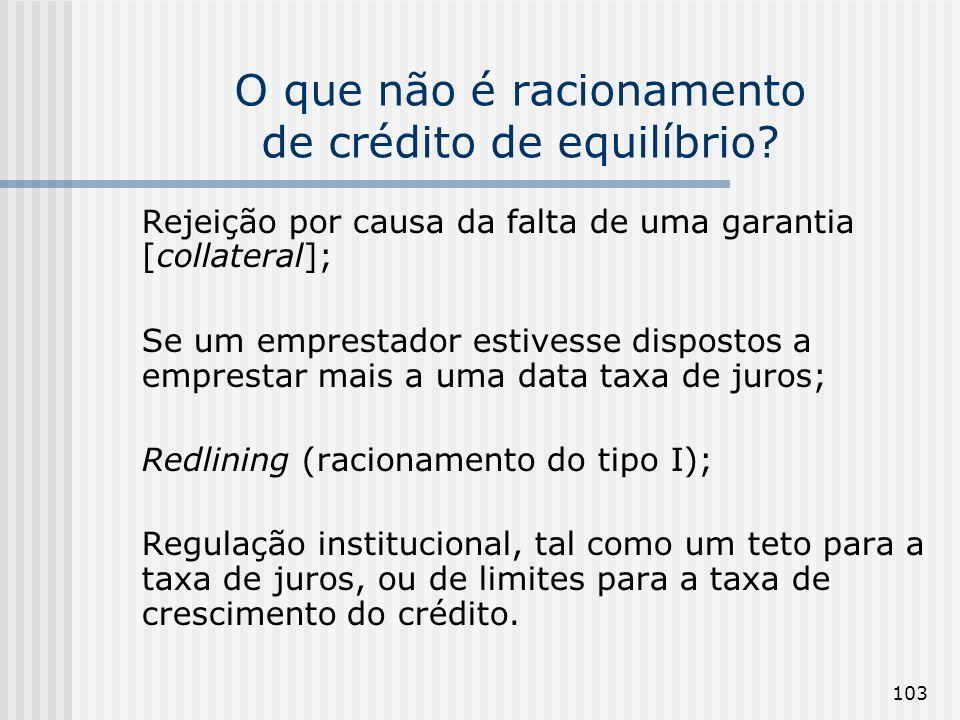 O que não é racionamento de crédito de equilíbrio