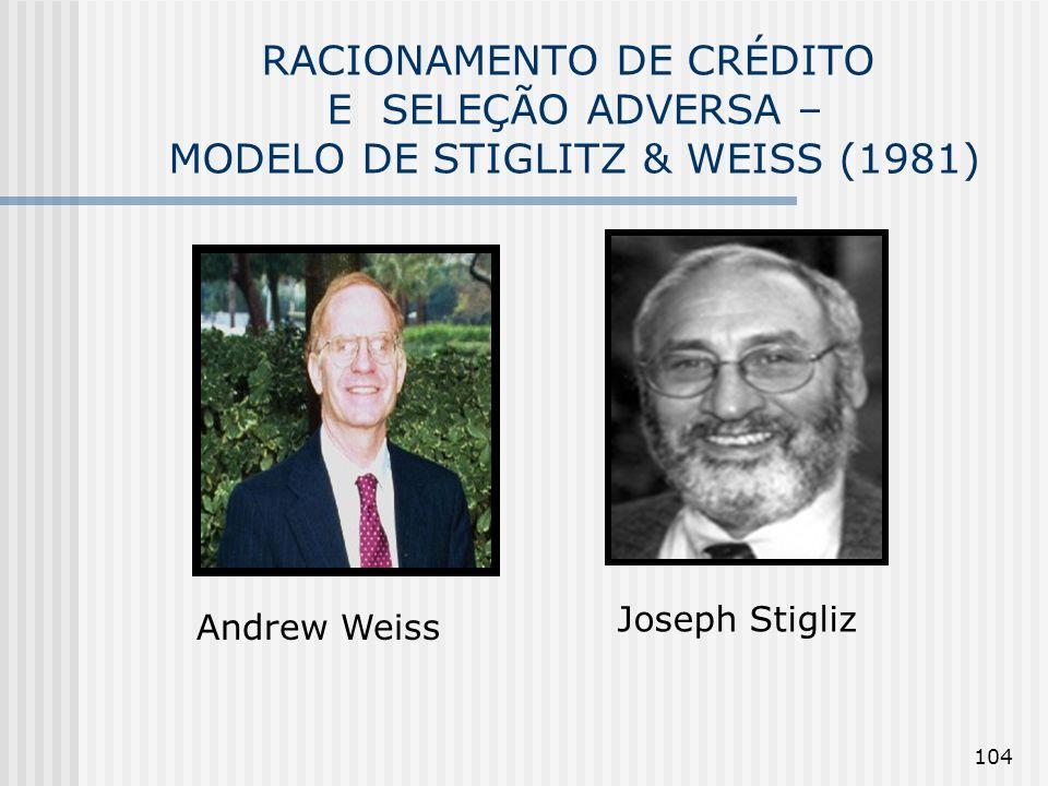 RACIONAMENTO DE CRÉDITO E SELEÇÃO ADVERSA – MODELO DE STIGLITZ & WEISS (1981)