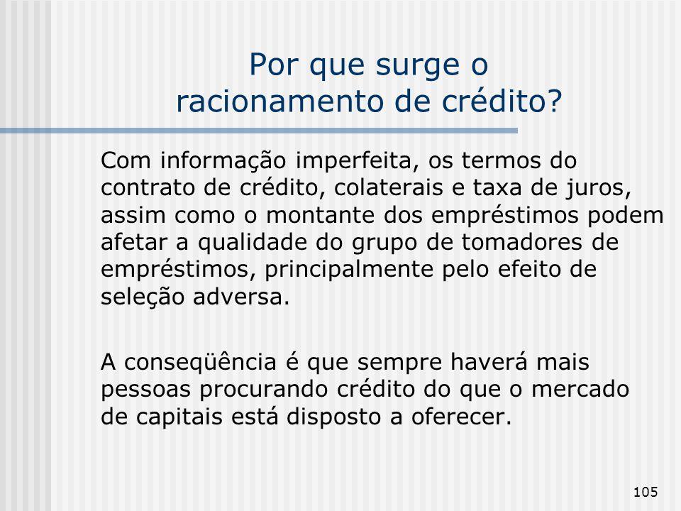 Por que surge o racionamento de crédito