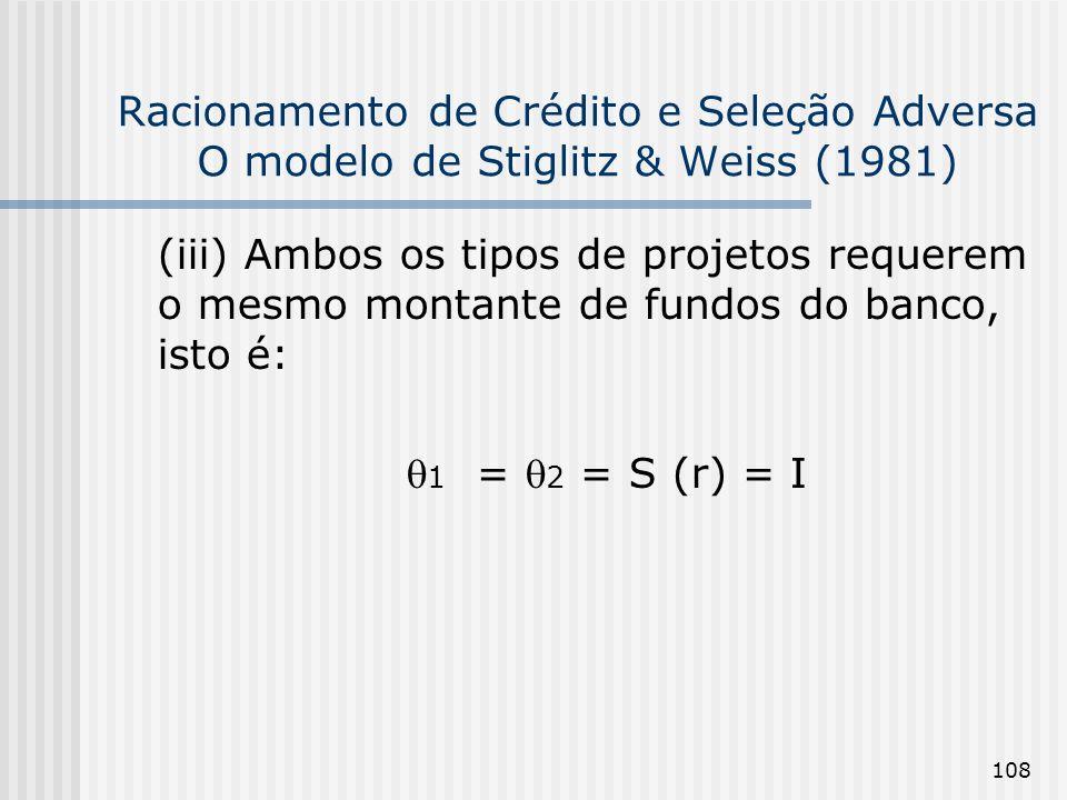 Racionamento de Crédito e Seleção Adversa O modelo de Stiglitz & Weiss (1981)