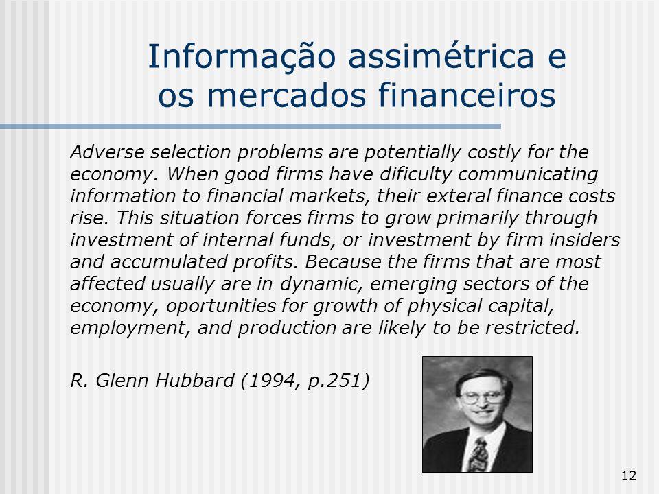 Informação assimétrica e os mercados financeiros