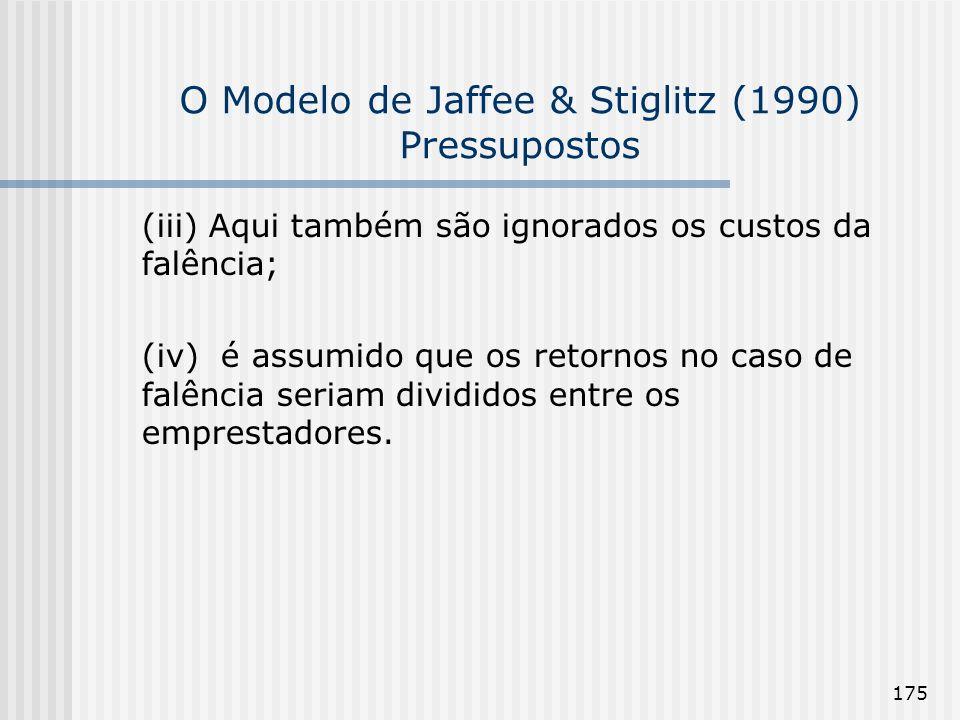O Modelo de Jaffee & Stiglitz (1990) Pressupostos