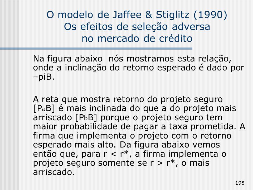 O modelo de Jaffee & Stiglitz (1990) Os efeitos de seleção adversa no mercado de crédito
