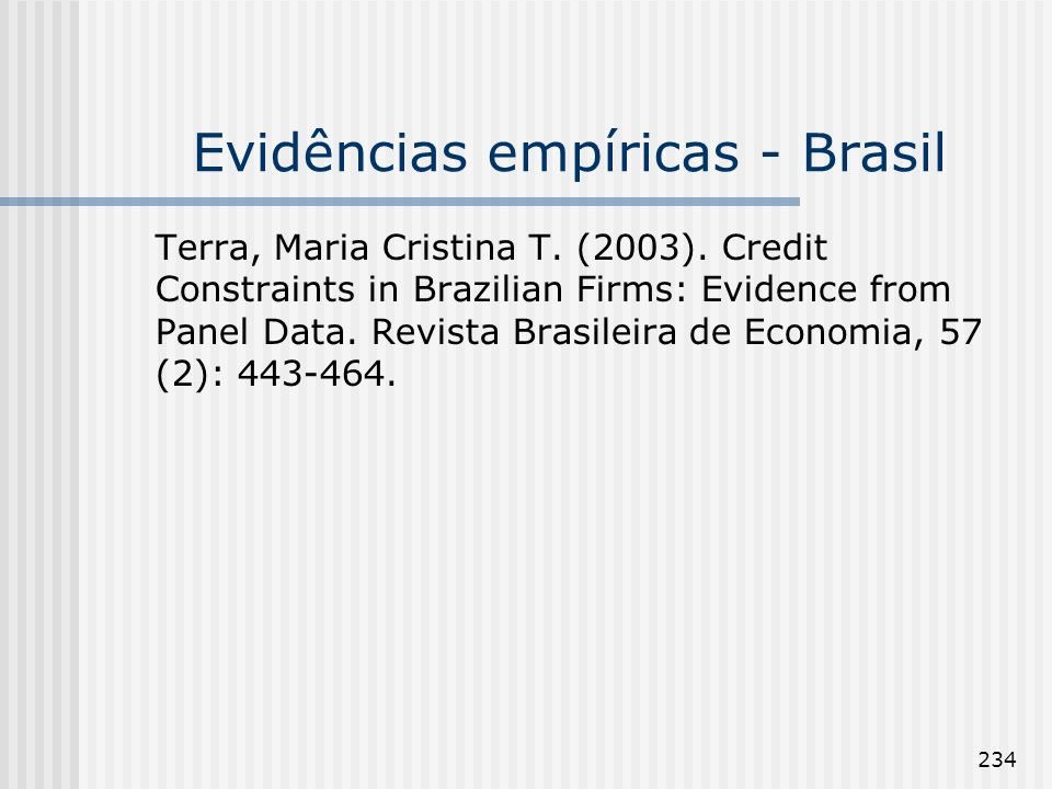 Evidências empíricas - Brasil